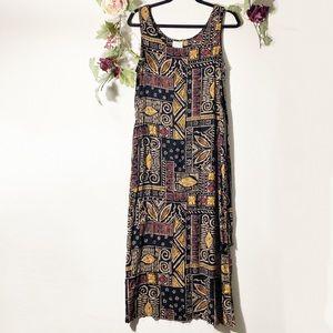Vintage Tribal Print Sleeveless Black Midi Dress